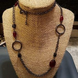 Lia Sophia Gunmetal Grey and Red Bead Necklace